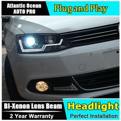 507.60$  Buy here - http://alid2m.worldwells.pw/go.php?t=32655348600 - Auto Lighting Style LED Head Lamp for VW Jetta led headlights 2011-2014 Cob Line Volks Wagen drl H7 hid Bi-Xenon Lens low beam 507.60$