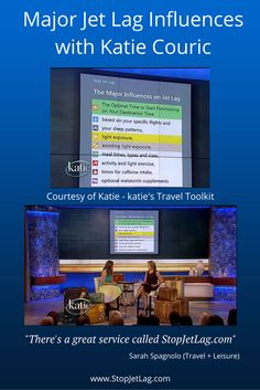 Sarah Spagnolo from Travel+Leisure discusses the major jet lag influences with Katie Couric. Learn how Stop Jet Lag uses them to make your trip more productive and enjoyable.