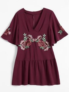 SHARE & Get it FREE | Embroidered Floral Ruffle Hem Dress - Wine RedFor Fashion Lovers only:80,000+ Items • New Arrivals Daily Join Zaful: Get YOUR $50 NOW!