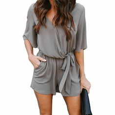 a6b0a65c78a9 New Casual Women Playsuit Sexy V-Neck Romper Thin Chiffon Summer Playsuits  Beach Overalls Jumpsuits Shorts 2018 Fashion GV416
