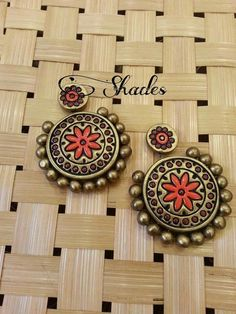 Terracotta Jewellery Online, Terracotta Jewellery Designs, Bead Crafts, Jewelry Crafts, Diy And Crafts, Quilling Jewelry, Polymer Clay Jewelry, Teracotta Jewellery, Terracotta Earrings