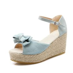 VogueZone009 Women's Buckle High Heels Denim Solid Open Toe Platforms and Wedges *** More info could be found at the image url.