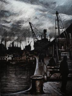 Work begins when the ships come in, ryan mutter. Nautical Marine, Nautical Art, Industrial Artwork, North Shields, Types Of Painting, Ship Art, Book Art, Contemporary Art, The Past