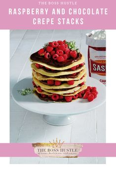 What is the difference between a crepe and a pancake? The short answer is that a crepe is a skinnier version pancake. Crepe stacks are great if you are preparing brunch for a large group. Chocolate Crepes, Melting Chocolate, Jenny Morris, Easter Lunch, Brunch, Serving Plates, Melted Butter, Food Print, Raspberry