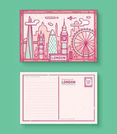 London Postcard by Enisaurus. Typography Poster, Graphic Design Typography, Graphic Design Illustration, Postcard Layout, Postcard Design, Jessica Hische, London Postcard, Buch Design, Japanese Typography
