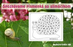Slimák a písmenká - pracovný list pre deti