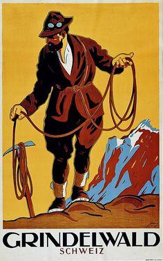 Grindelwald, by Armin Bieber, 1927 Vintage Ski, Vintage Travel Posters, Vintage Prints, Evian Les Bains, Armin, Switzerland Tourism, Swiss Travel, Retro Poster, Tourism Poster