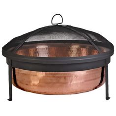 CobraCo SH101 Hand Hammered 100% Copper Fire Pit with Screen and Cover:Amazon:Patio, Lawn & Garden