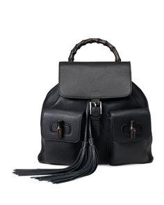 V285E Gucci Bamboo Sac Leather Backpack 84e521b744fbf