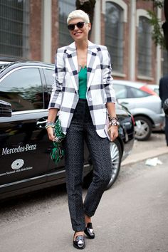 STREET STYLE SPRING 2013: MILAN FW - Oversized plaids and driving shoes make for a cool combination on Elisa Nalin.