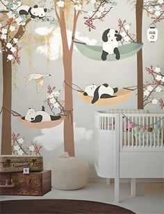 Cherry Blossom Wall Decal Playful Pandas In Cherry Blossom
