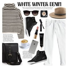 """On Trend: Winter White Denim"" by tuccipolo ❤ liked on Polyvore featuring Rebecca Taylor, Anja, Incase, rag & bone, Ray-Ban, Bobbi Brown Cosmetics, contestentry, winterwhite and tuccipolo"