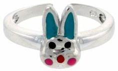 Sterling Silver Child Size Rabbit Head Ring, w/ Aqua Green & Pink Enamel Design, 3/8 inch (9 mm) wide Sabrina Silver. $28.74