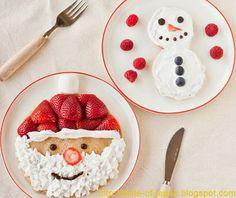 adorable Santa Claus and Snowman pancakes