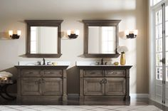 Stately, substantial and deliciously architectural, Omega's new Plantation Suitebath cabinets bring a spirit of grandeur to anybathroom. The dual, stand-alone vanities create an impactful and truly functional space. #OmegaBathCollection