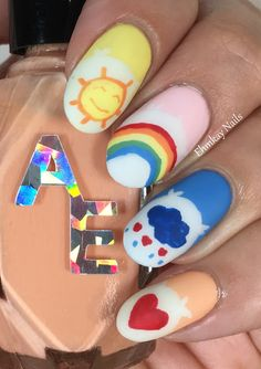 ehmkay nails: 80s Nail Art: Care Bears Nail Art