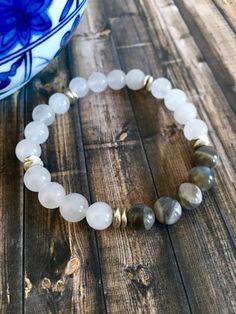 Snow Quartz Grey Moonstone Beaded Bracelet, Healing Crystals, Wellness Bracelets, Birthday Gift Ideas, Gemstone Jewelry by DesignsbyLolaBelle on Etsy