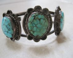 Vintage Navajo Cuff Bracelet - Sterling Silver and Turquoise - Signed KS