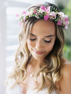 Wedding flower crown with pink wax flowers and orchids
