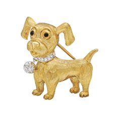 Estate Buccellati 18k Gold Dog Brooch with Diamond