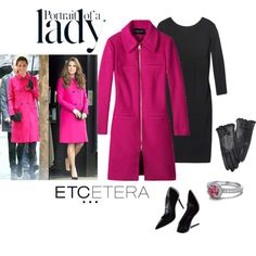 Etcetera | Holiday 2015: SORBONNE fuchsia coat with GLAMAZON black dress and LADY leather gloves. www.etcetera.com