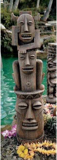 Kitsch Polynesian Totem Primitive Tiki Garden Yard Pool Statue | eBay