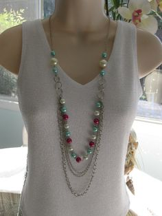 Long Pearl Beaded Necklace Multi Strand Chains by RalstonOriginals, $18.00