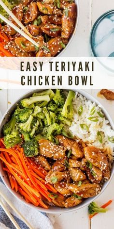 This Easy Teriyaki Chicken Bowl is a great option for dinner, or you can make it ahead for easy prepped lunches during the week!