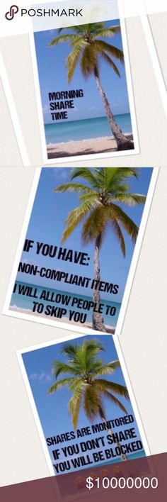 ❌❌CLOSED❌❌🌴🌴2/8 THUR SIGN UP 🌴🌴 4 shares. No worries. Easy breezy.   🌴Please use Q&A listing for questions! No comments until sign up is closed.  🌴Sharing starts at 5am  🌴Sign up closes at 2pm est  🌴Posh compliant closets only. If you're not compliant you risk not being shared 🌴Please complete shares by midnight your time 🌴Mark your spot by using the first 3 characters of the last person you shared. Life gets busy!  Ex: ***back Happy Share Time!! Other