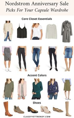 Nordstrom Anniversary Sale Picks For Your Capsule Wardrobe - Clothes and shoes for your wardrobe closet such as a cardigan, cami, tee, striped top, coat, skirt, leggings, jeans, boots, booties, flats and pumps.