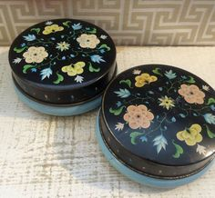 Pretty Pair of Small Vintage Floral Tins in Blue and Black 1950s