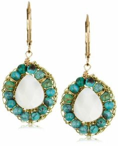 """$132.00 Slip the Eva Hanusova """"Cocoon"""" Mother-of-Pearl Onyx Turquoise Earrings into your lobes for chic Bohemian style. Each gold-filled lever back holds a cluster of stones in a fine gold mesh setting. A row of deep blue-green turquoise beads encircles a pure white faceted mother-of-pearl stone for a dazzling two-tiered effect. The stones are threaded together with thin gold wire and rest in the nest-like back. Measuring 1.5 inches in length..."""