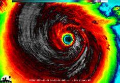 Imagen del Super Tifón Haiyan al momento de alcanzar vientos destructivos de 313Kmh. Fuente CIMSS