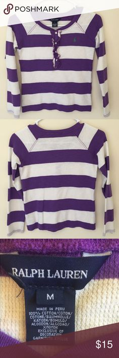 Girls Ralph Lauren Top This Ralph Lauren purple and white striped sweater is perfect for any girl. This long sleeve too is made out of a cotton material and has the small polo horse logo in green. It fits true to size (youth medium) and is in great condition (has only been worn a few times). Polo by Ralph Lauren Sweaters Crew & Scoop Necks