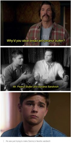 He was just trying to make Sammy's favorite sandwich. 9x07 Bad Boys