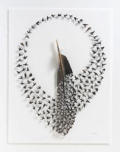 Новые работы из птичьих перьев от Chris Maynard