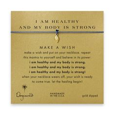 I am healthy and my body is strong angel wings necklace on ocean, gold dipped $30