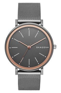 Skagen 'Hald' Round Mesh Strap Watch, 34mm