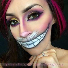 Alice in wonderland's CHESHIRE CAT by ✨@C_Flower✨ wearing #FlutterLashes in #Dahlia from our Mink Colors Collection meticulously blended with purple and black! See @C_Flower's YouTube tutorial (link in her bio) for steps on this Halloween look  ✨Visit us at FlutterLashes.com✨