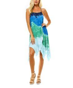 Look at this #zulilyfind! Emerald & Blue Tie-Dye Handkerchief Dress #zulilyfinds
