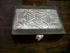 card player's pewtered card box