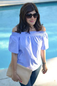Beautifully Seaside / formerly Chic Coastal Living: OFF THE SHOULDER TOP IN CLASSIC STRIPES