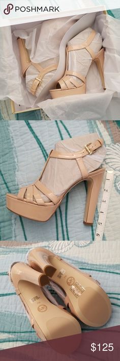 """NWT RARE Michael Kors Nude Catalina Chunky Heels Last picture is a screenshot of the product info from MK's website! These have been discontinued and this color is not available anymore. The color is technically """"blush"""" but works as a nude and compliments your tan! Super comfy, the chunky or block heel allows you to dance for hours with no discomfort at all (I can attest to that myself!) Selling b/c the company accidently sent me 2 pairs and told me to keep the 2nd lol. They come with the…"""