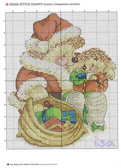 Cross-stitch Hedgehog Christmas... No color chart available, just use the pattern chart as your color guide.