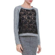 BCBG Colleen Lace Sweatshirt Rayon cotton blend BCBGMaxAzria Tops Sweatshirts & Hoodies