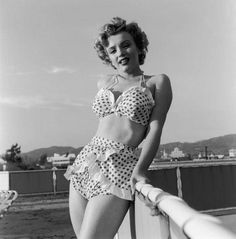 Marilyn Monroe sports a pretty polka dot bikini