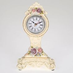 Gorgeous #floral table clock in cream color and size 13Χ7Χ23 www.inart.com