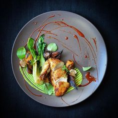 Rooster, Peas, Tomatoes, Onions, Mushrooms, Pak Choi, Glace Sauce