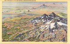 Oregon, Washington, Cascade Range - Linen Postcard - Unused (B1)
