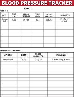 blank blood pressure chart